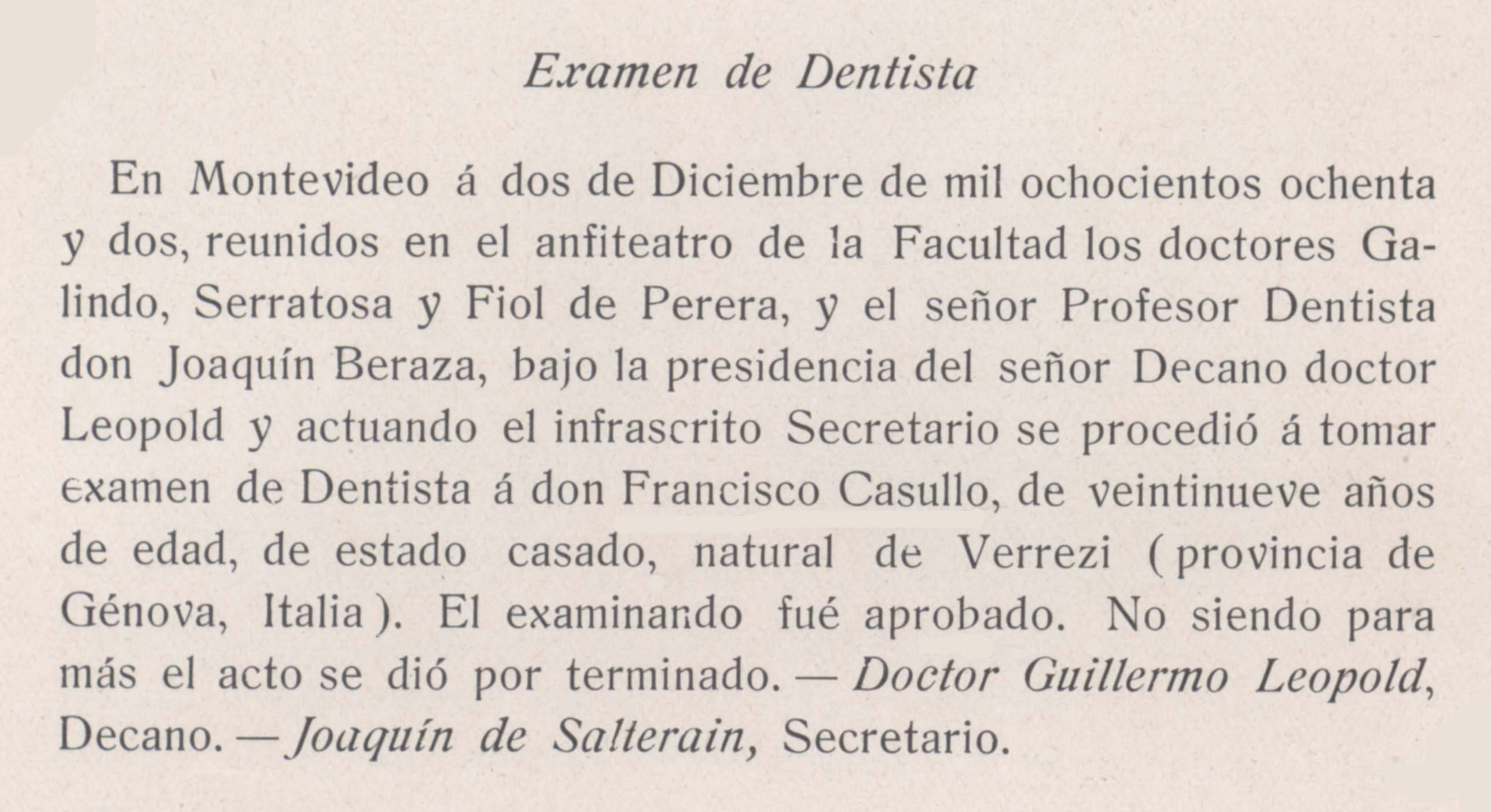 EVOLUCION HISTORICA DE LOS ESTUDIOS DE ODONTOLOGIA EN EL URUGUAY: 1ª ...