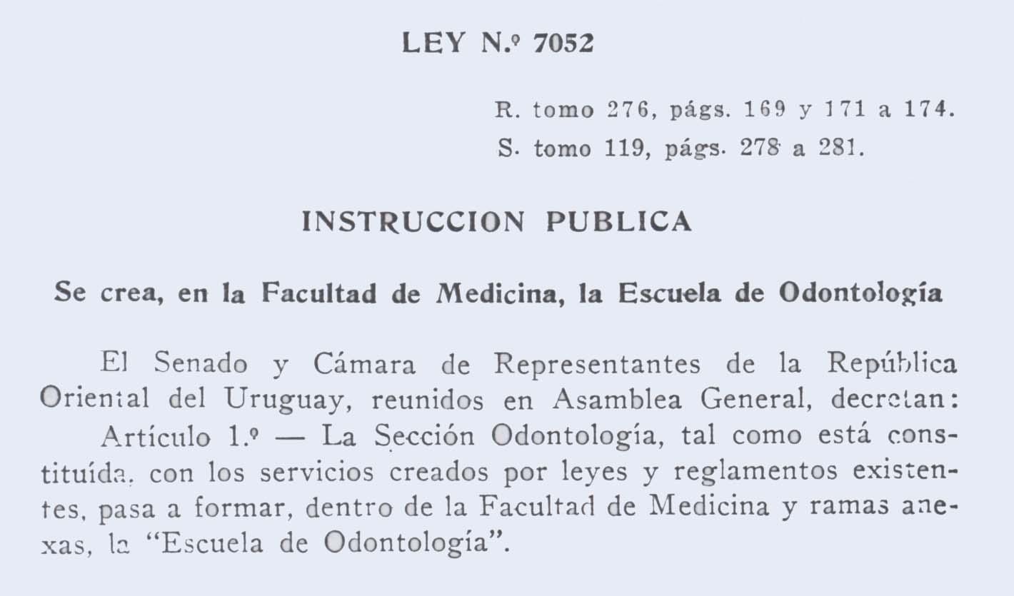 EVOLUCION HISTORICA DE LOS ESTUDIOS DE ODONTOLOGIA EN EL URUGUAY ...